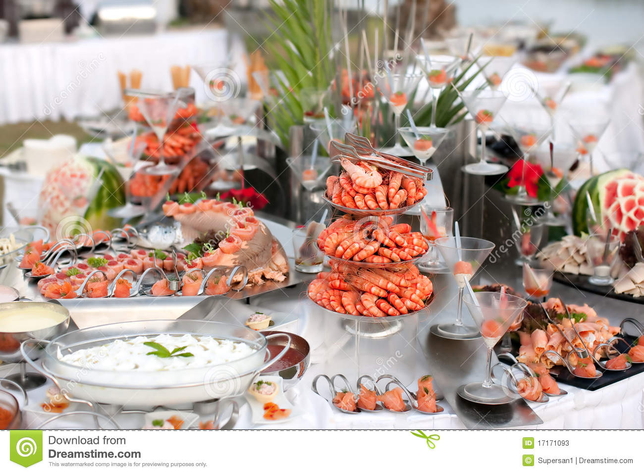 Buffet Table With Seafood Stock Image Of Cooking