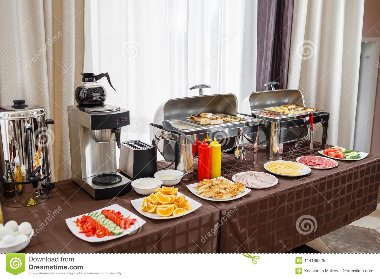 Royalty-Free Stock Photo & Buffet Trays Heated Ready For Service. Breakfast In Hotel ...