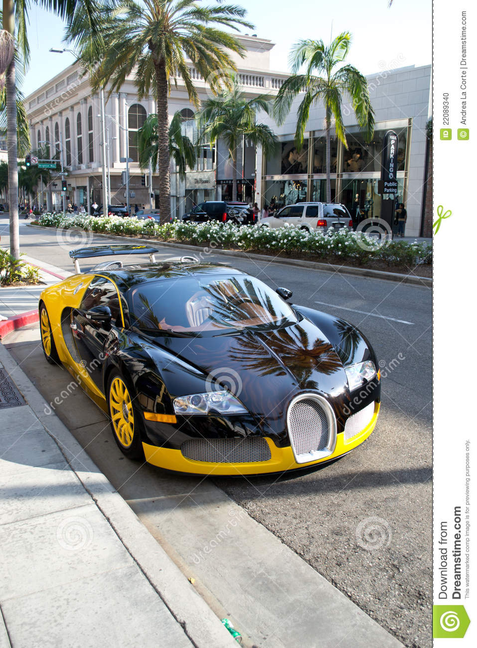 Bugatti on Rodeo Drive editorial image. Image of tire ...