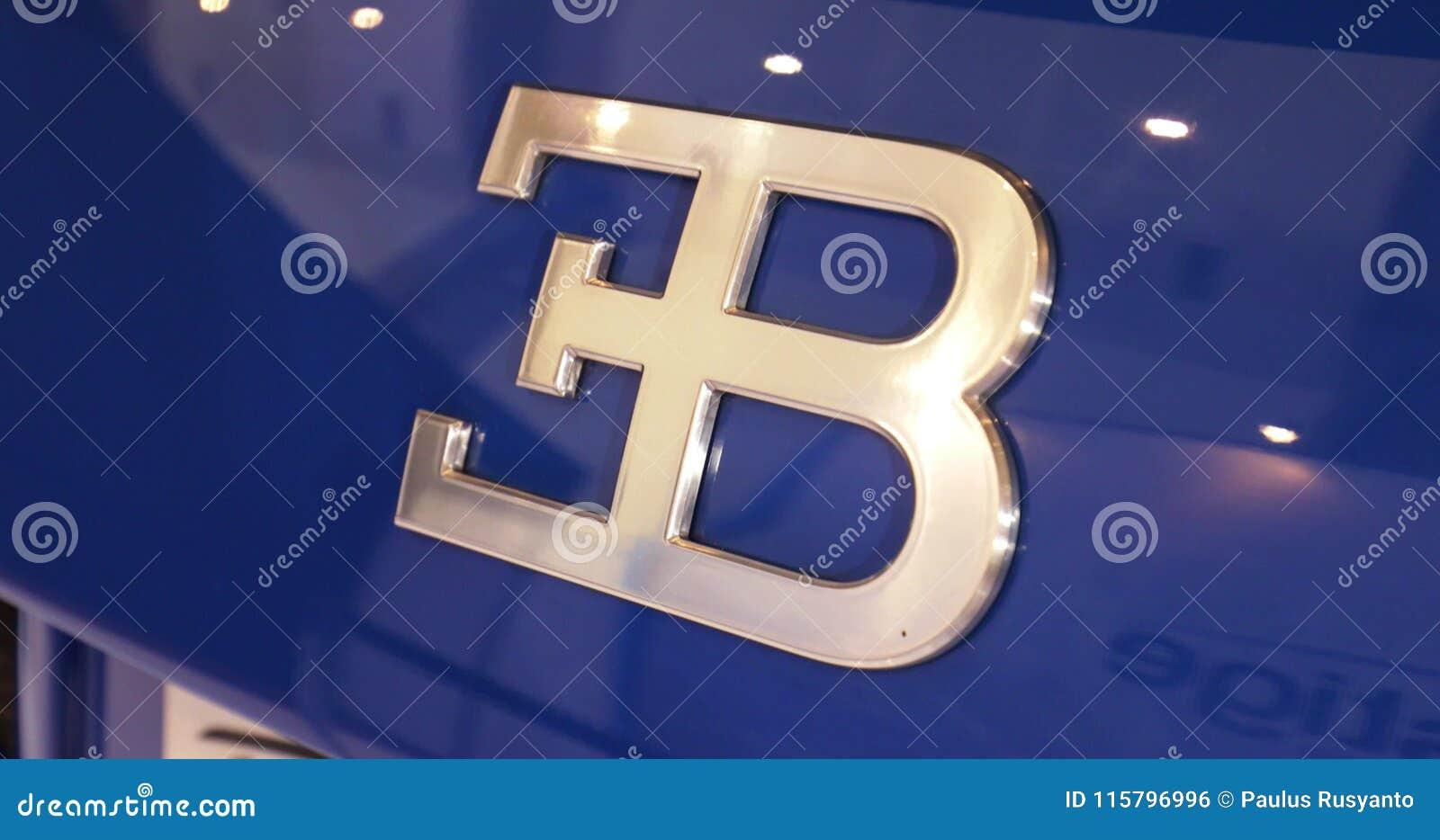 Bugatti Symbol On The Bugatti Veyron Car Stock Footage Video Of