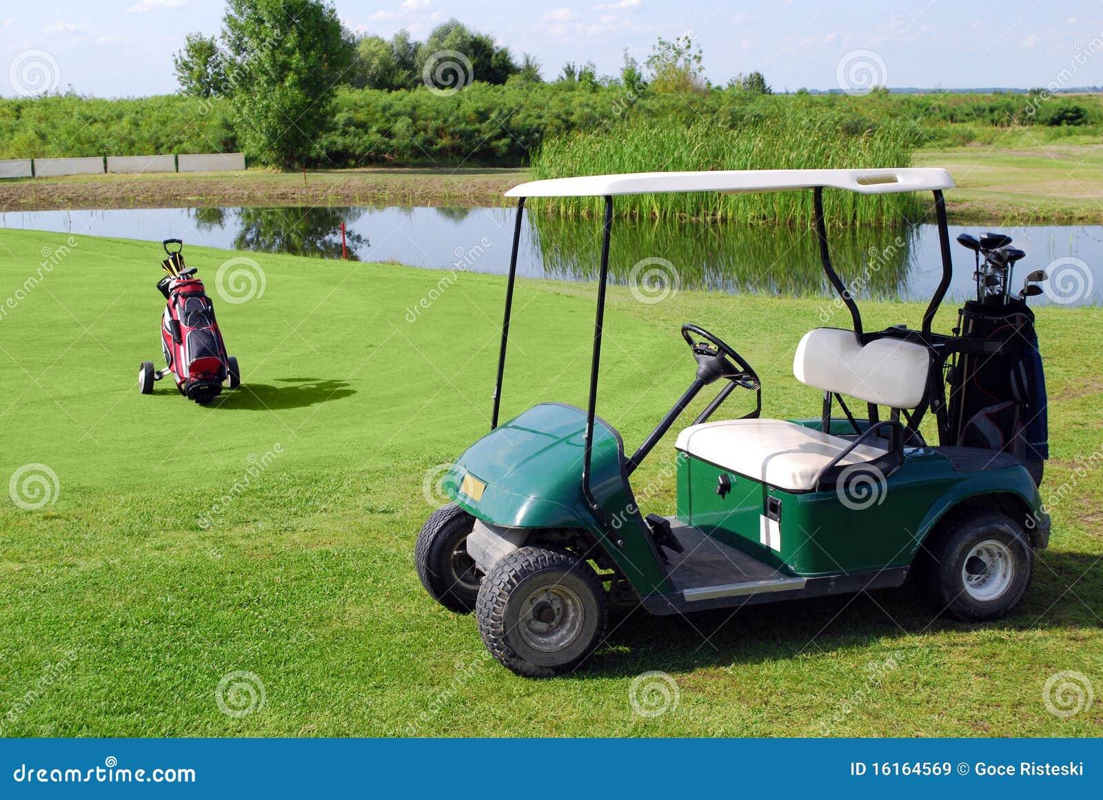 Buggy do golfe e saco de golfe