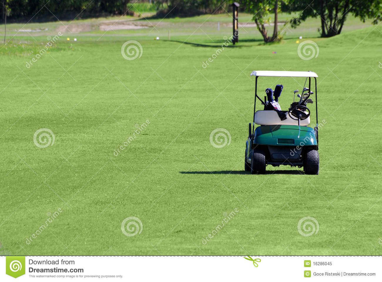 Buggy do golfe no campo do golfe