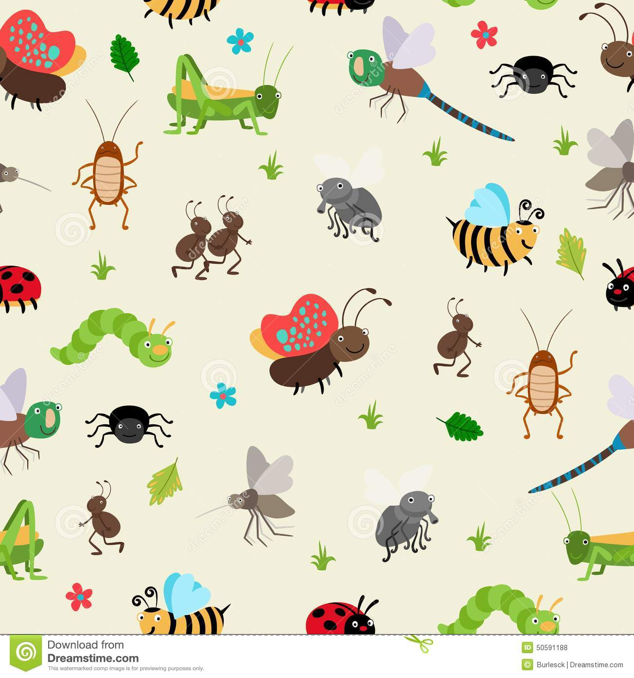 Bugs And Beetles Seamless Background Stock Vector - Image