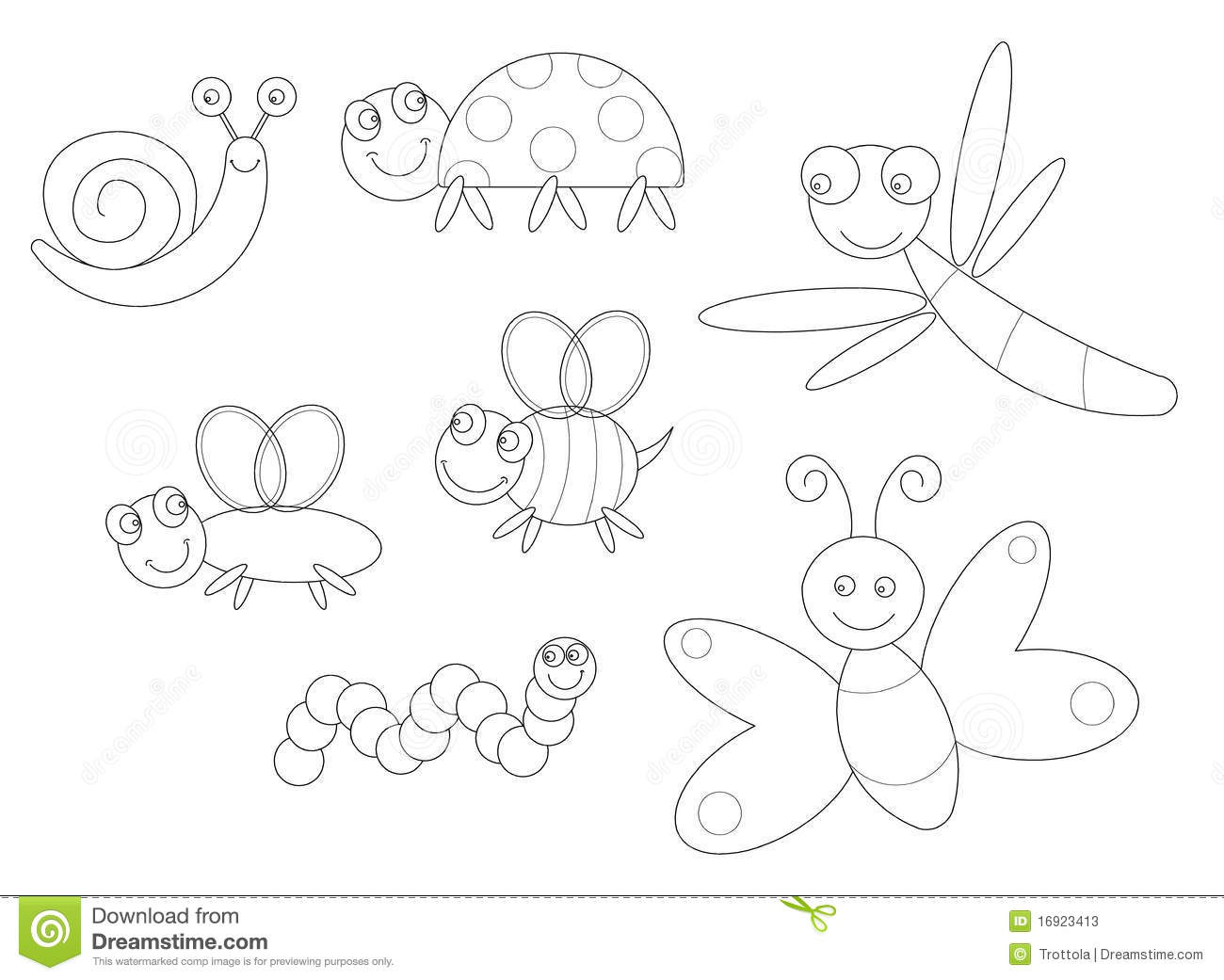 insects coloring pages - bugs coloring stock vector illustration of black kids