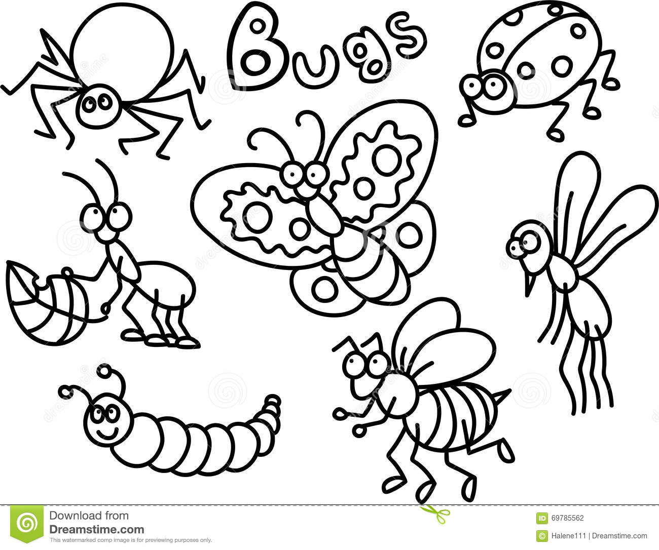 Download Bugs Coloring Page Stock Illustration Of Butterfly