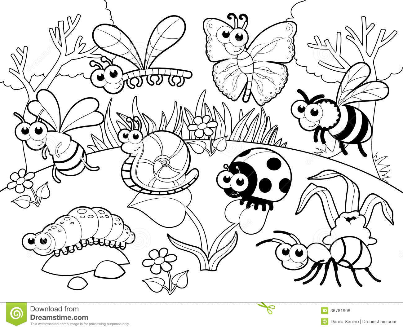 cartoon bug coloring pages - photo#25