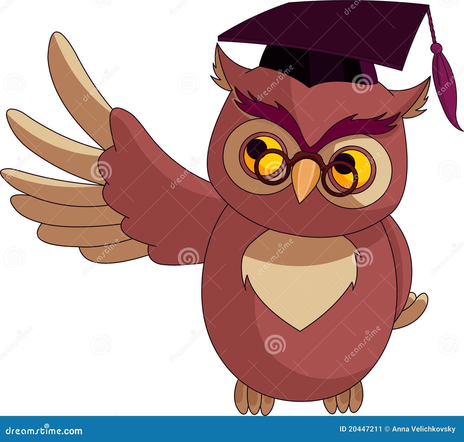 Cartoon Owl with Graduation Cap