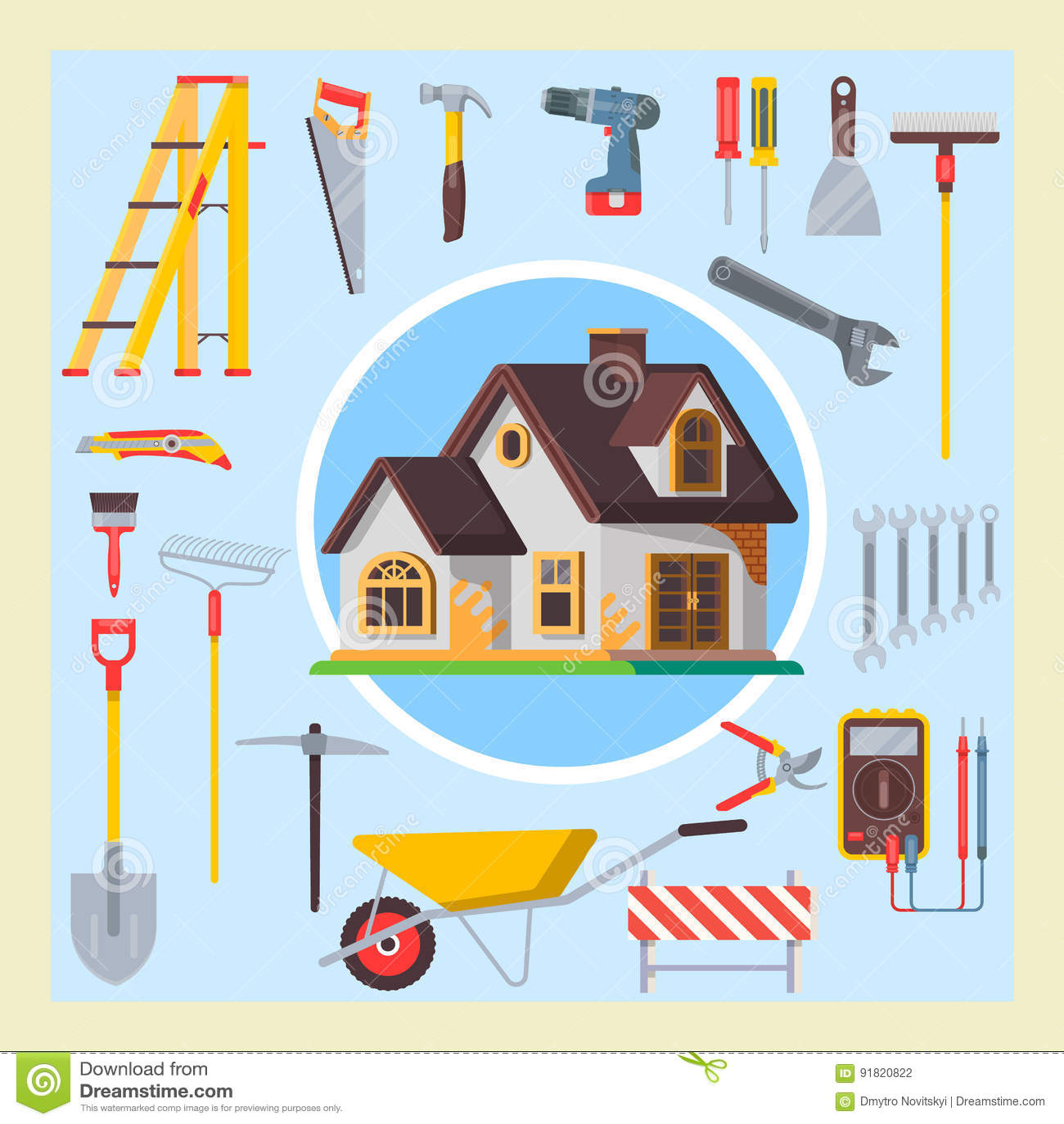 Bui tirado mão da ilustração do vetor do grupo de ferramentas da construção da garatuja