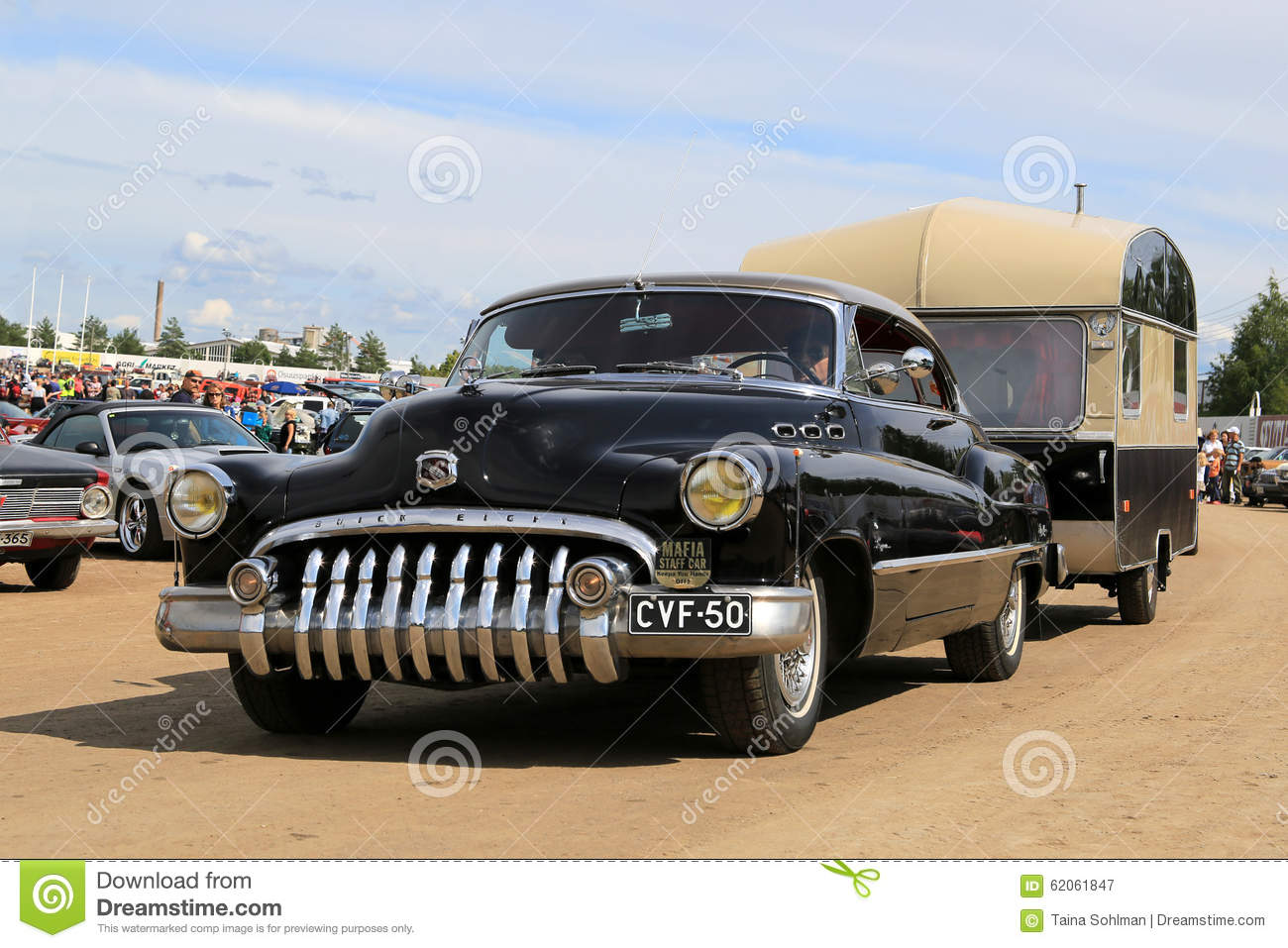 Buick Super Eight Car And Vintage Travel Trailer Editorial ...