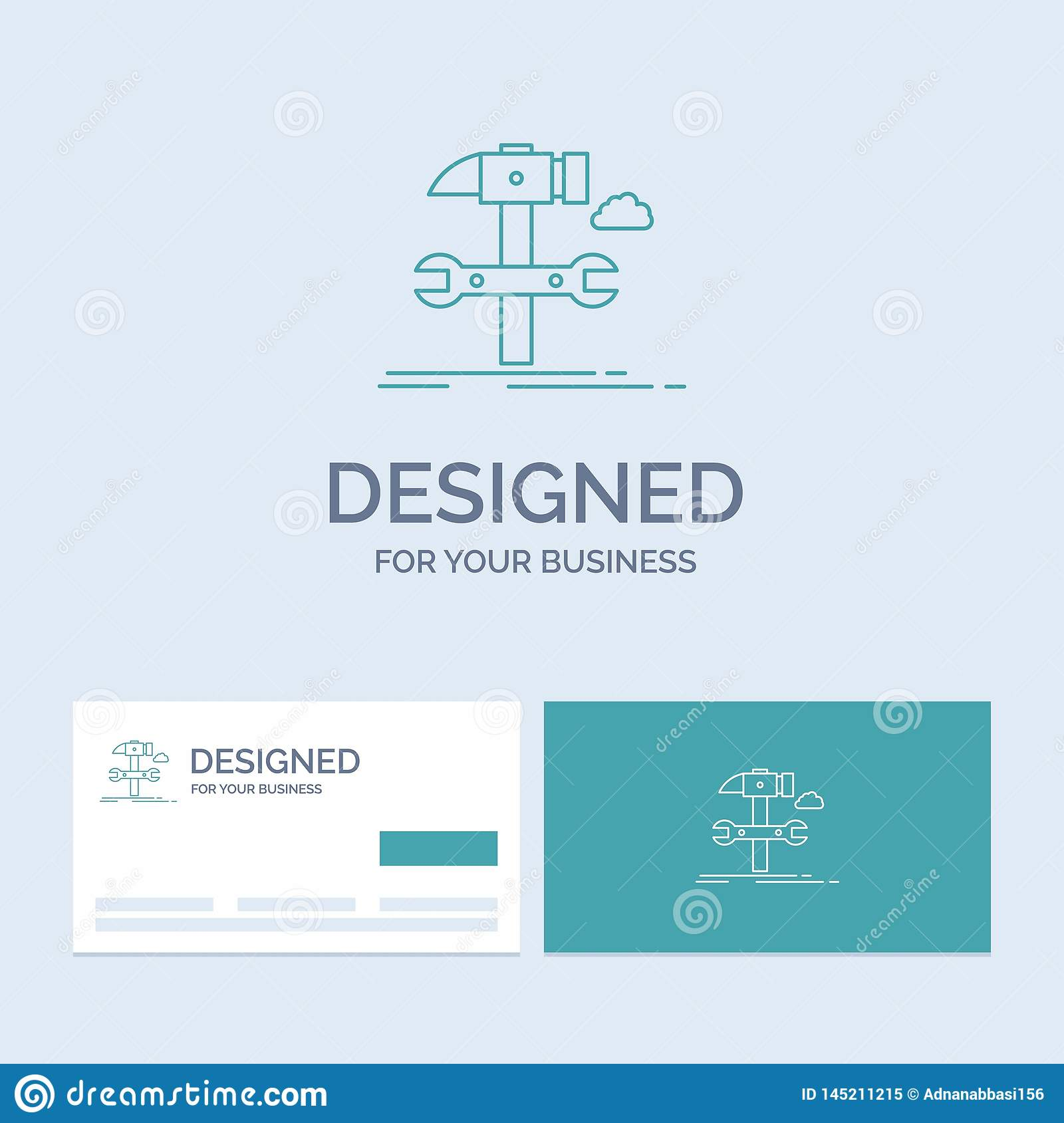 Build, engineering, hammer, repair, service Business Logo Line Icon Symbol for your business. Turquoise Business Cards with Brand