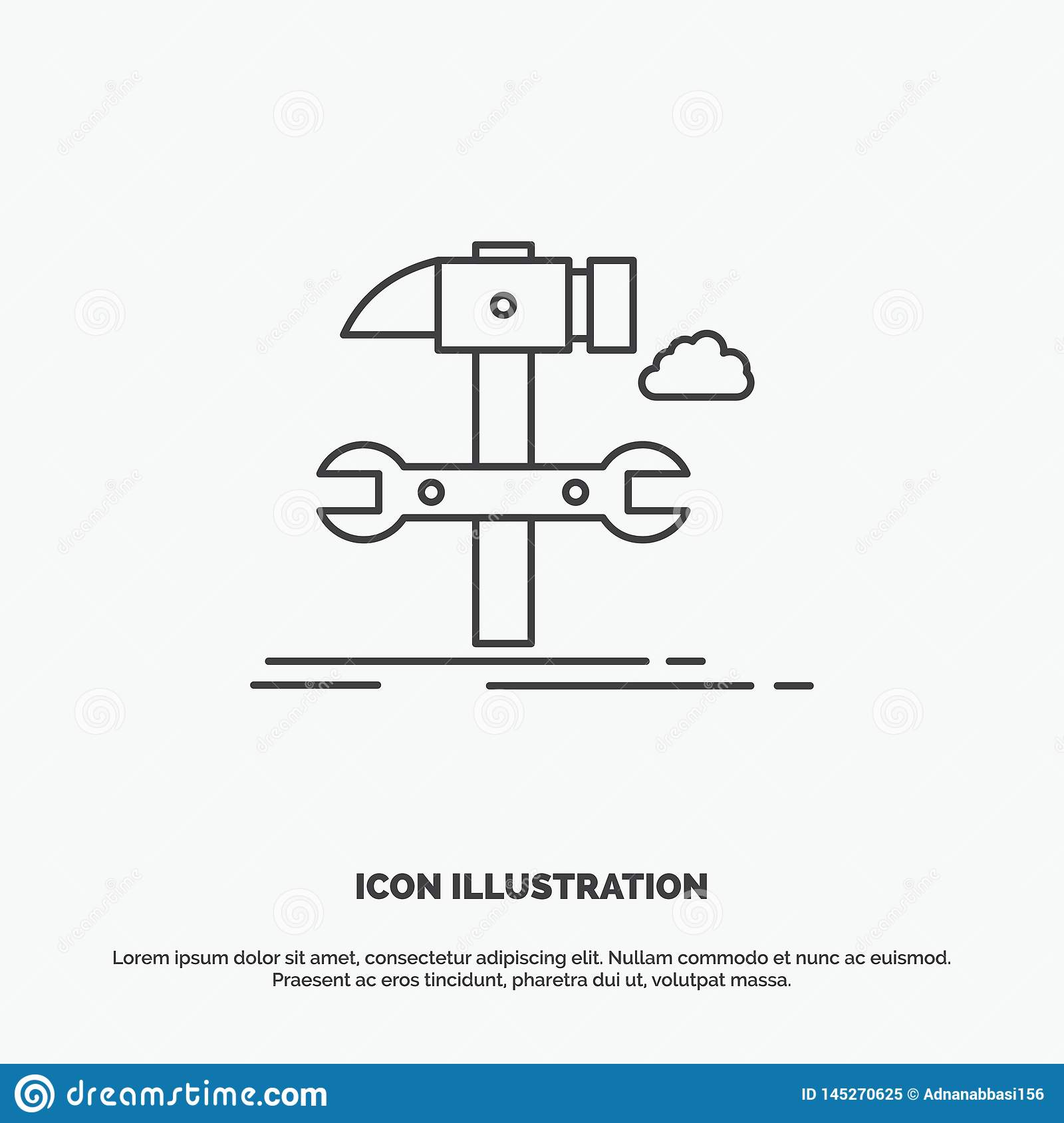 Build, engineering, hammer, repair, service Icon. Line vector gray symbol for UI and UX, website or mobile application