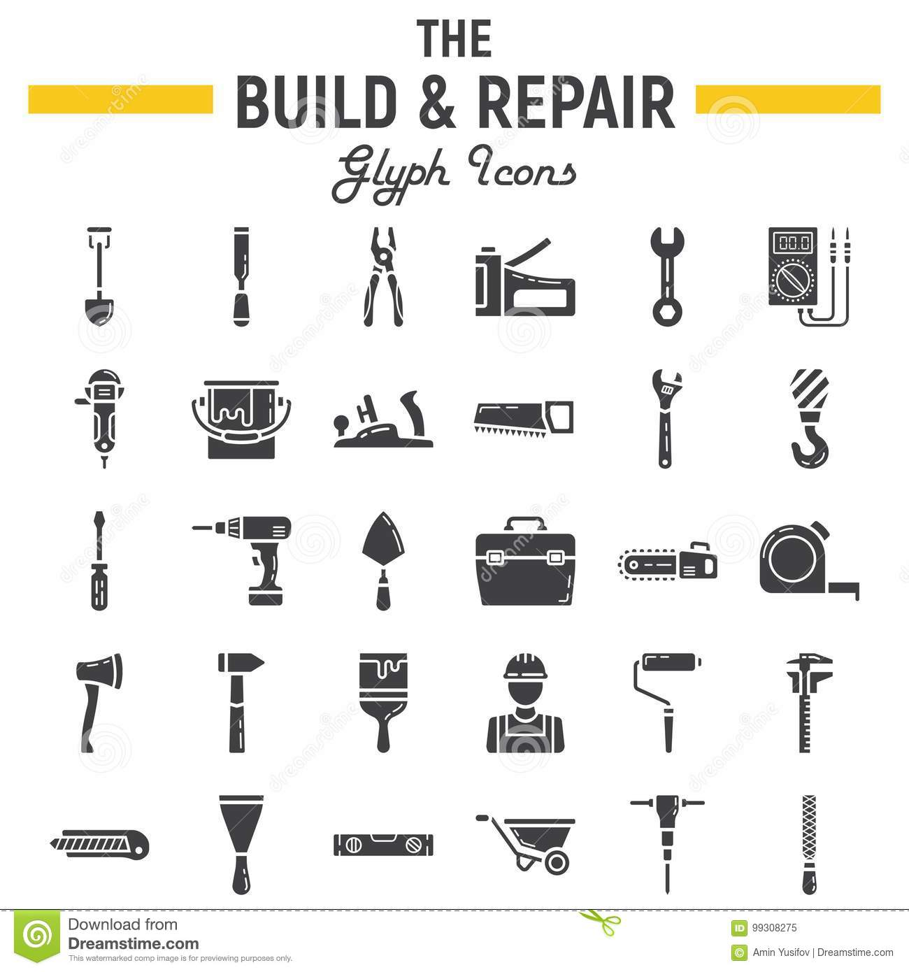 Build And Repair Glyph Icon Set Construction Sign Stock Vector