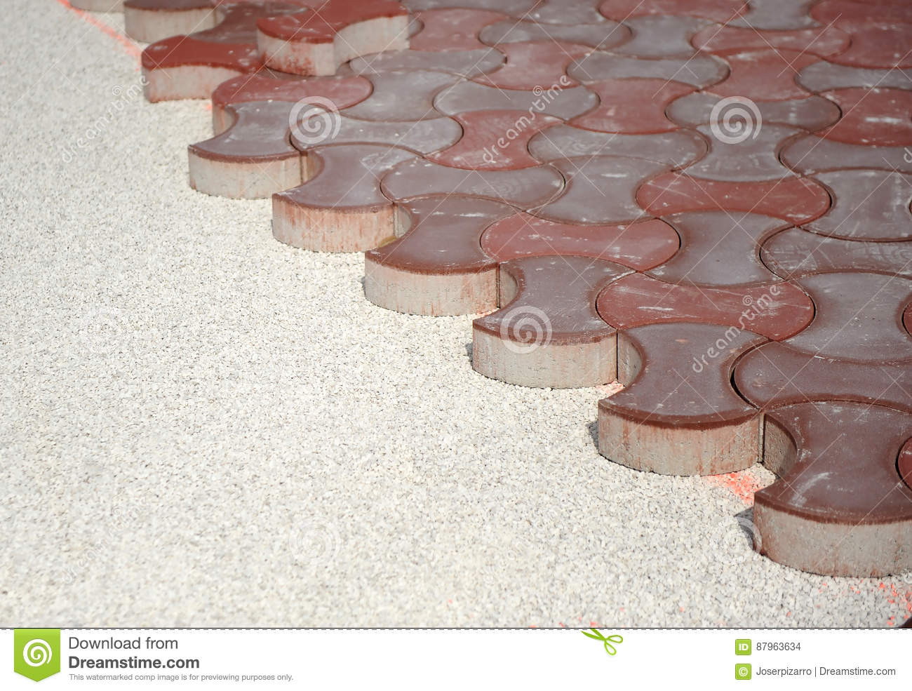 Build The Sidewalk With Red Concrete Pavers Stock Photo