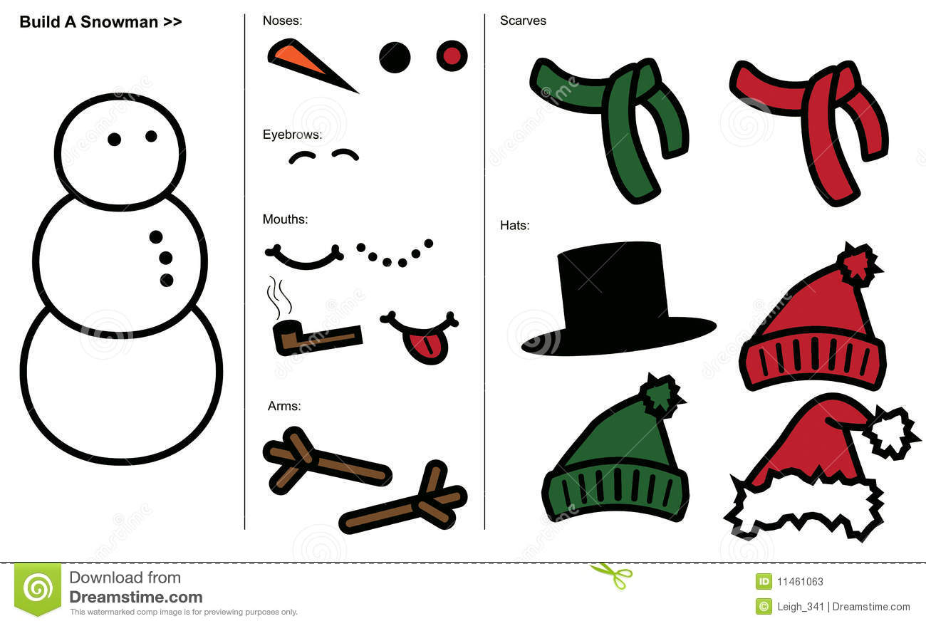 vector art template for building your own snowman.