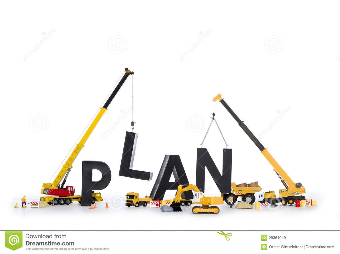 Build Up A Plan: Machines Building Plan-word. Royalty Free Stock ...