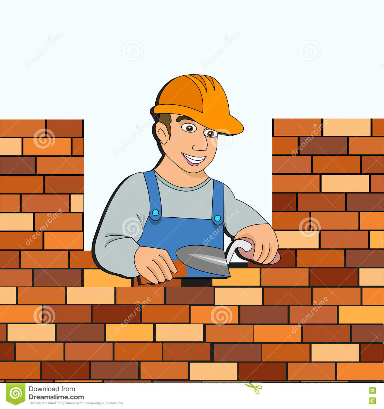 Builder With A Brick Wall For Design Stock Vector Image