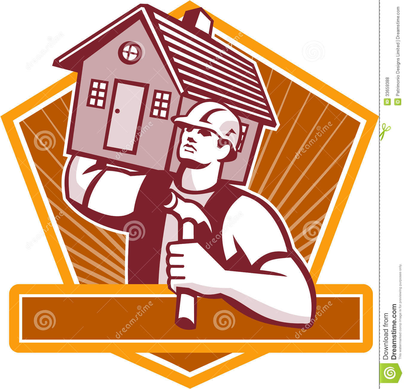 Builder Carpenter Carry House Retro Royalty Free Stock