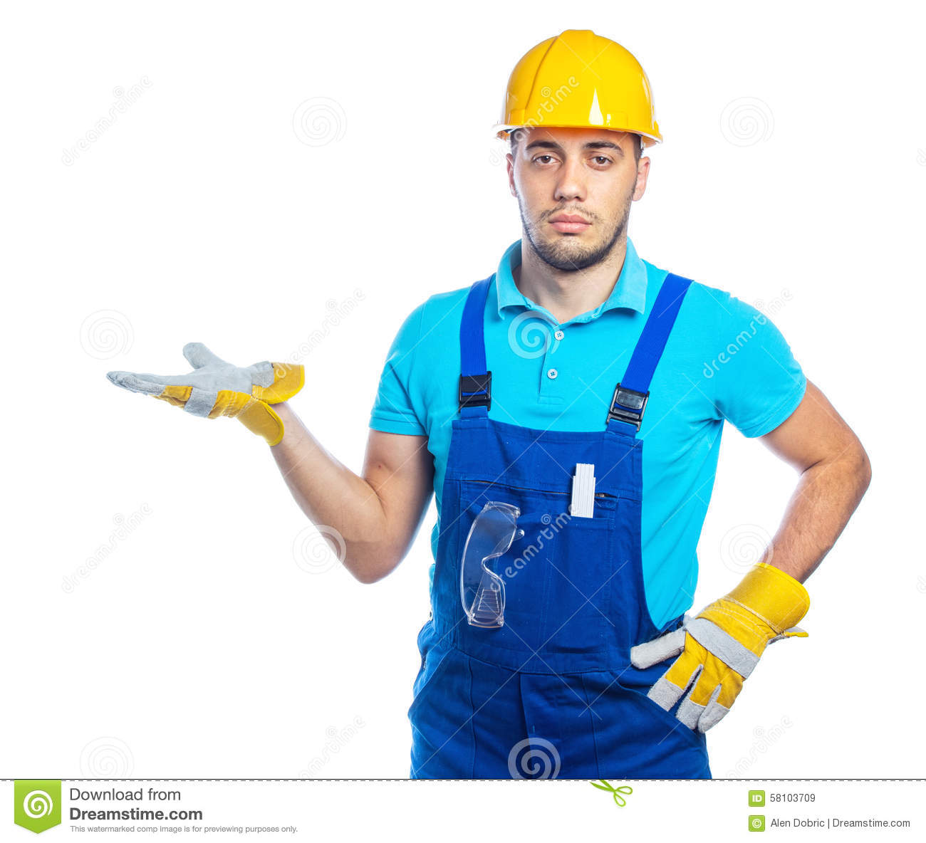 Builder construction worker stock photo image 58103709 for Production builder