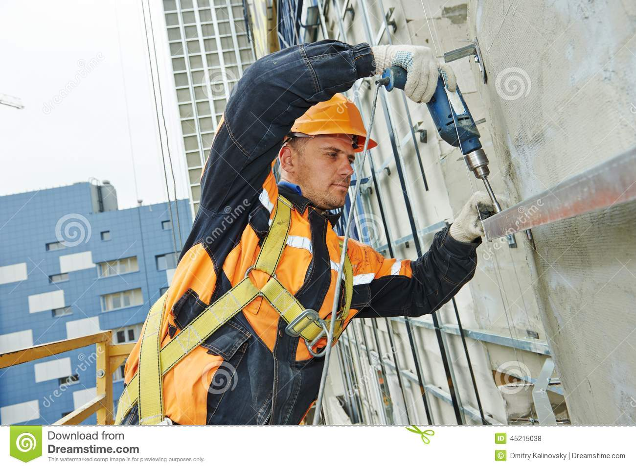 Builder At Facade Construction Work Stock Photo Image