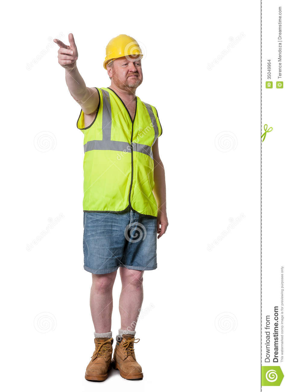 Builder In Hard Hat Directing - Isolated On White Stock Images - Image ...