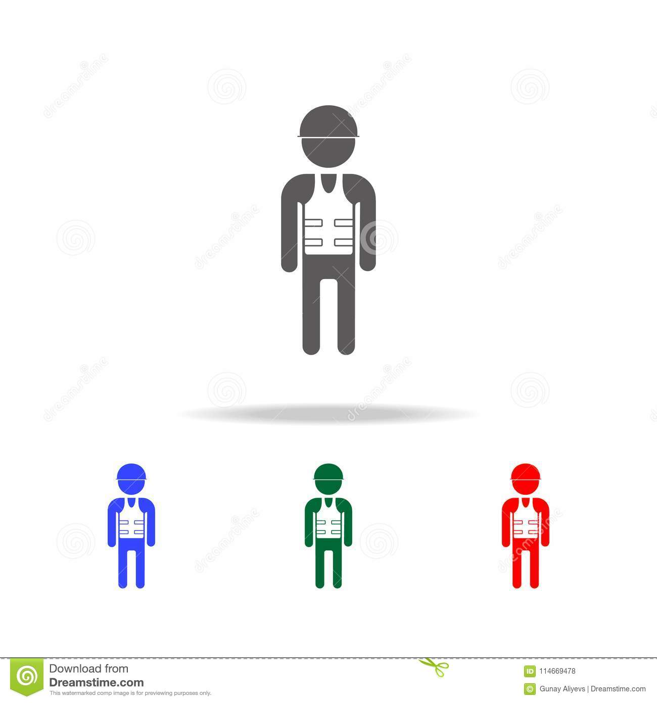 builder icon elements of people profession in multi colored icons
