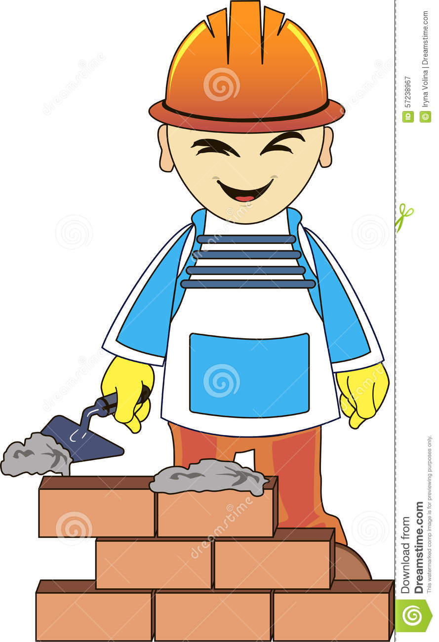 Builder man is building a brick wall cartoon vector for House builder online free