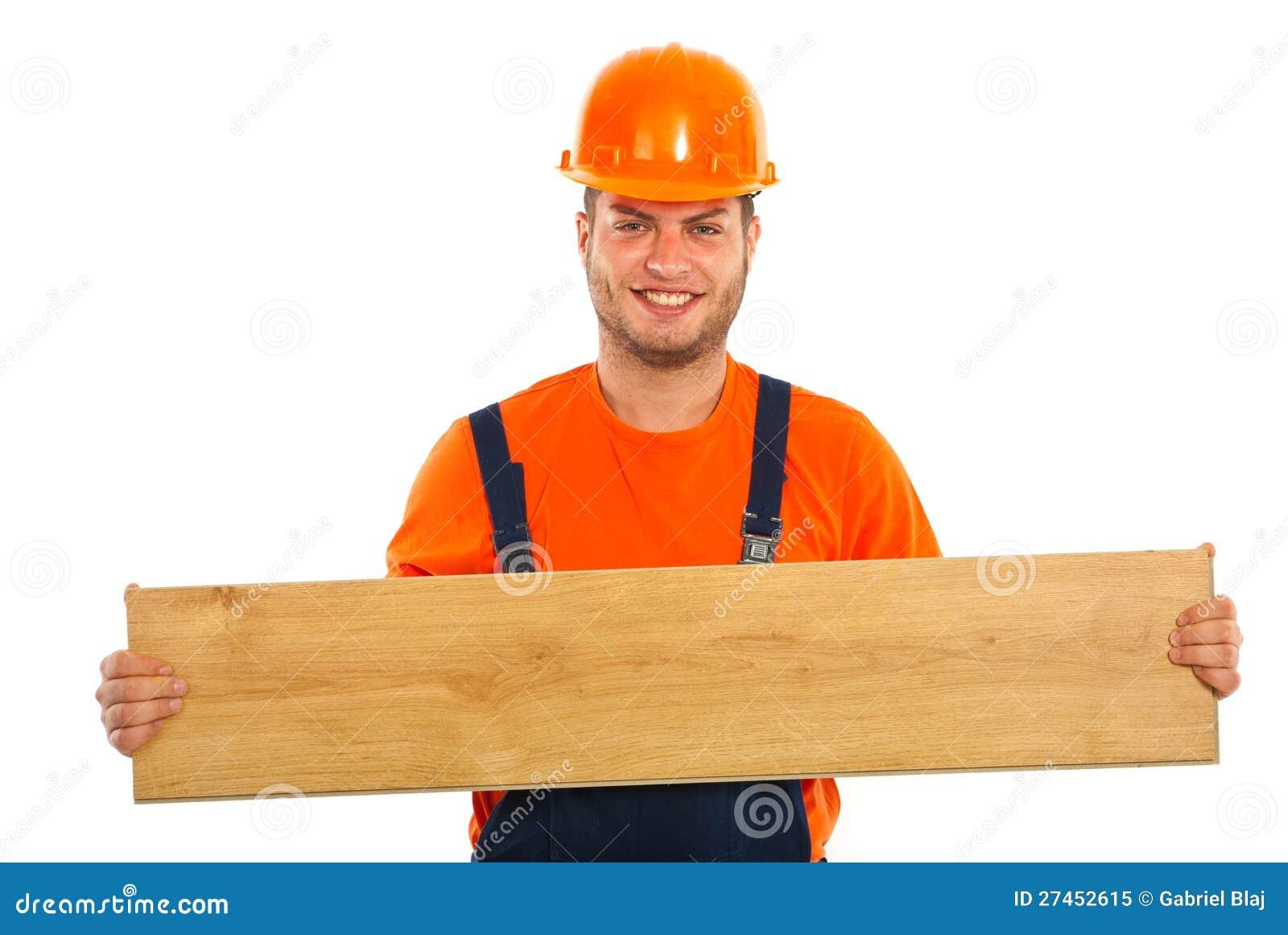 Builder Man Holding Plank Royalty Free Stock Photo Image