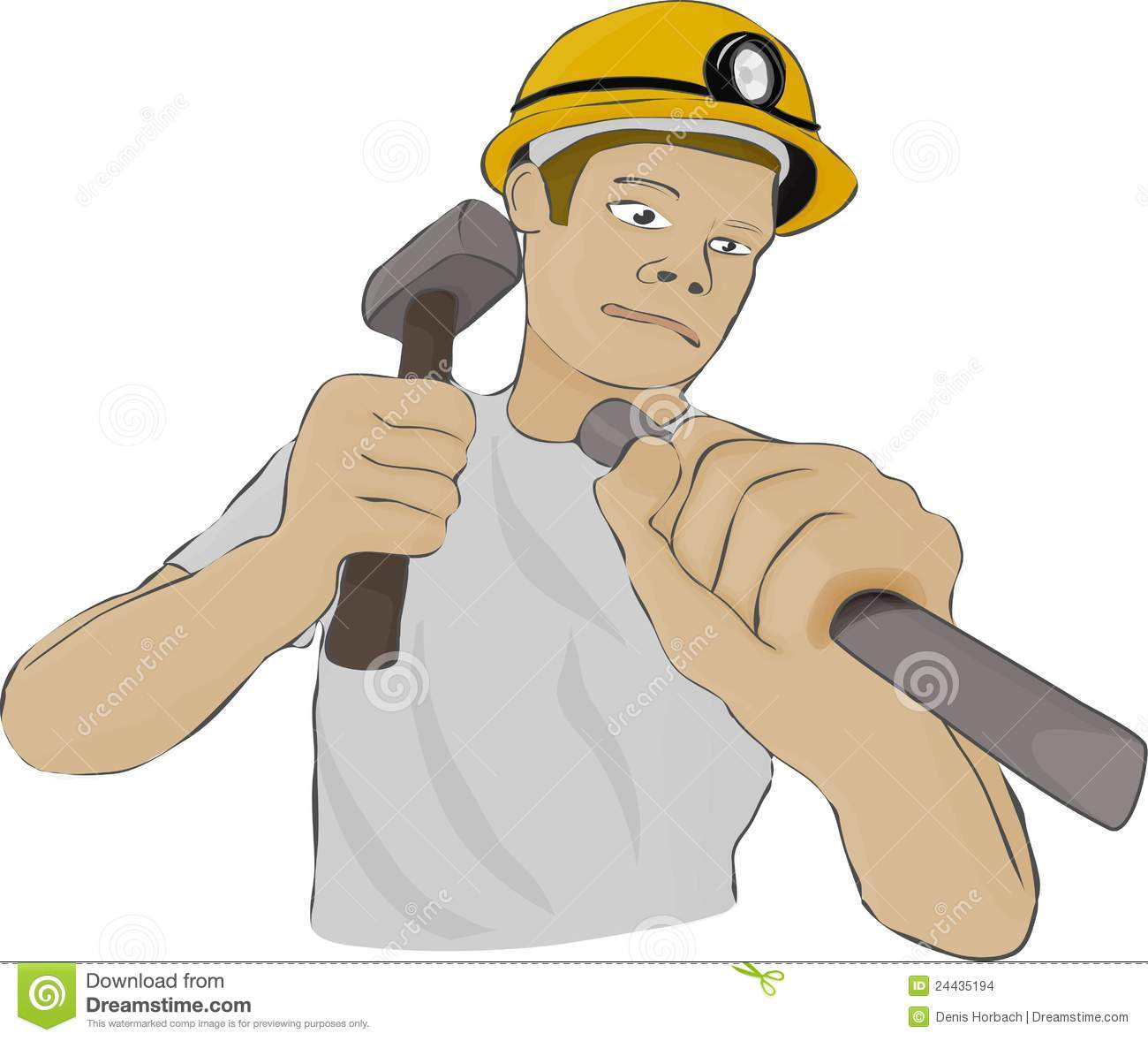 Builder Or The Miner Works With Hammer And Chisel Stock ...
