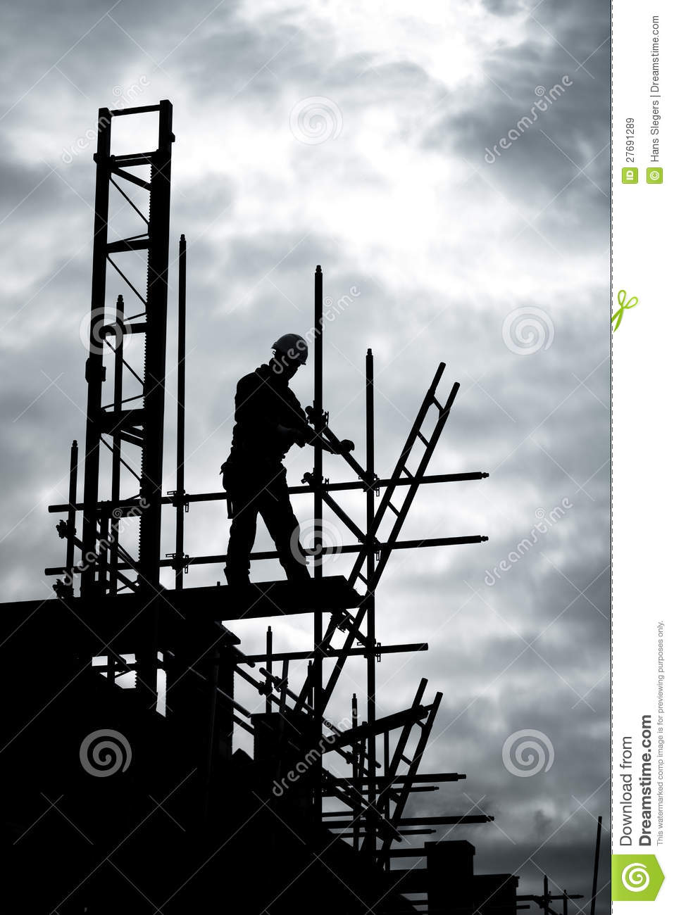 Builder On Scaffold Building Site Stock Image Image Of