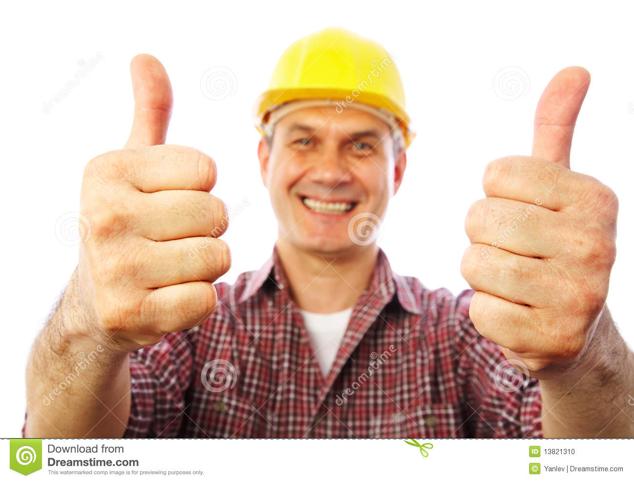Builder Shows Gesture Ok Stock Photo Image 13821310