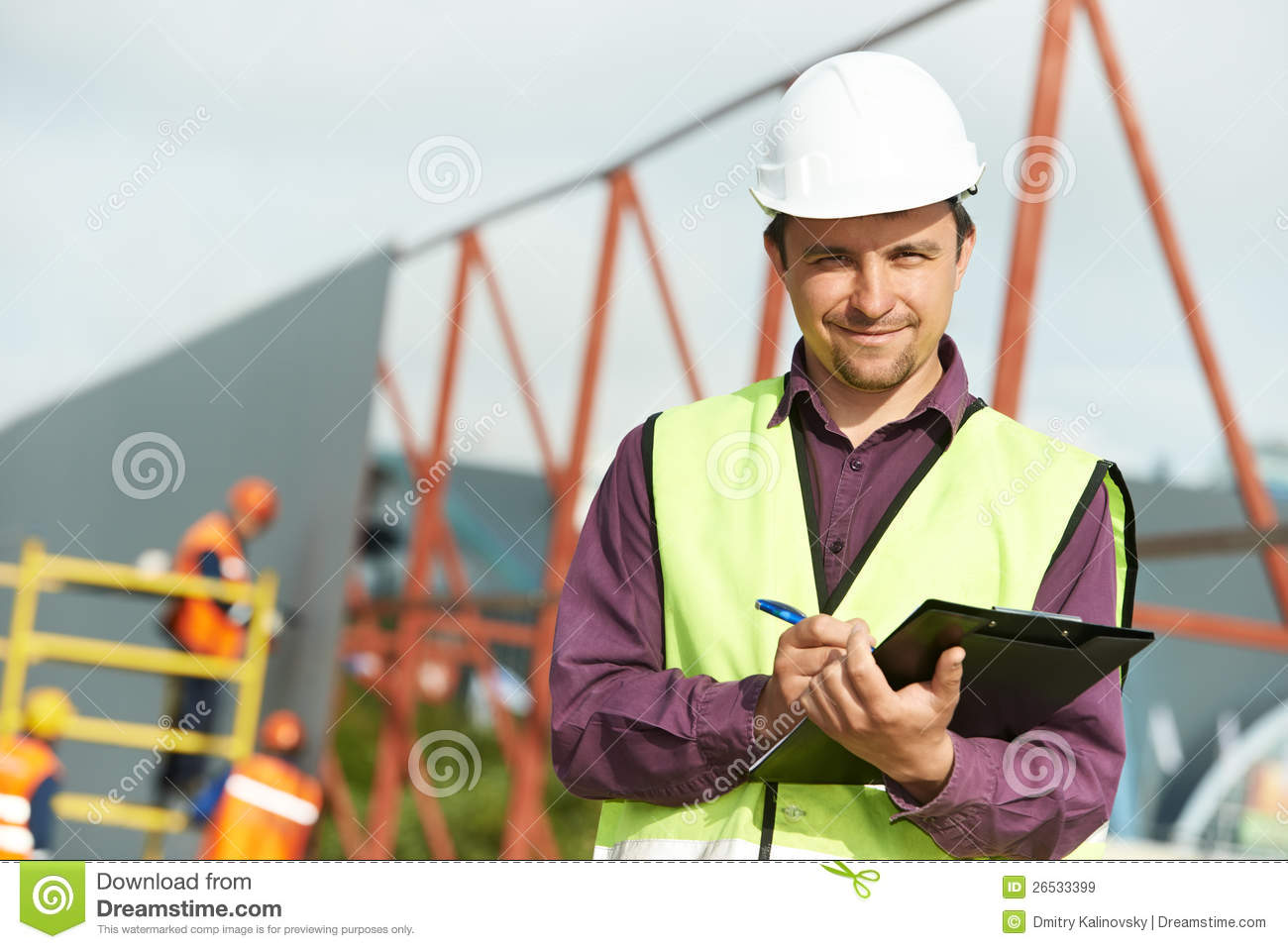 Site manager builder worker in uniform and safety protective equipment ...