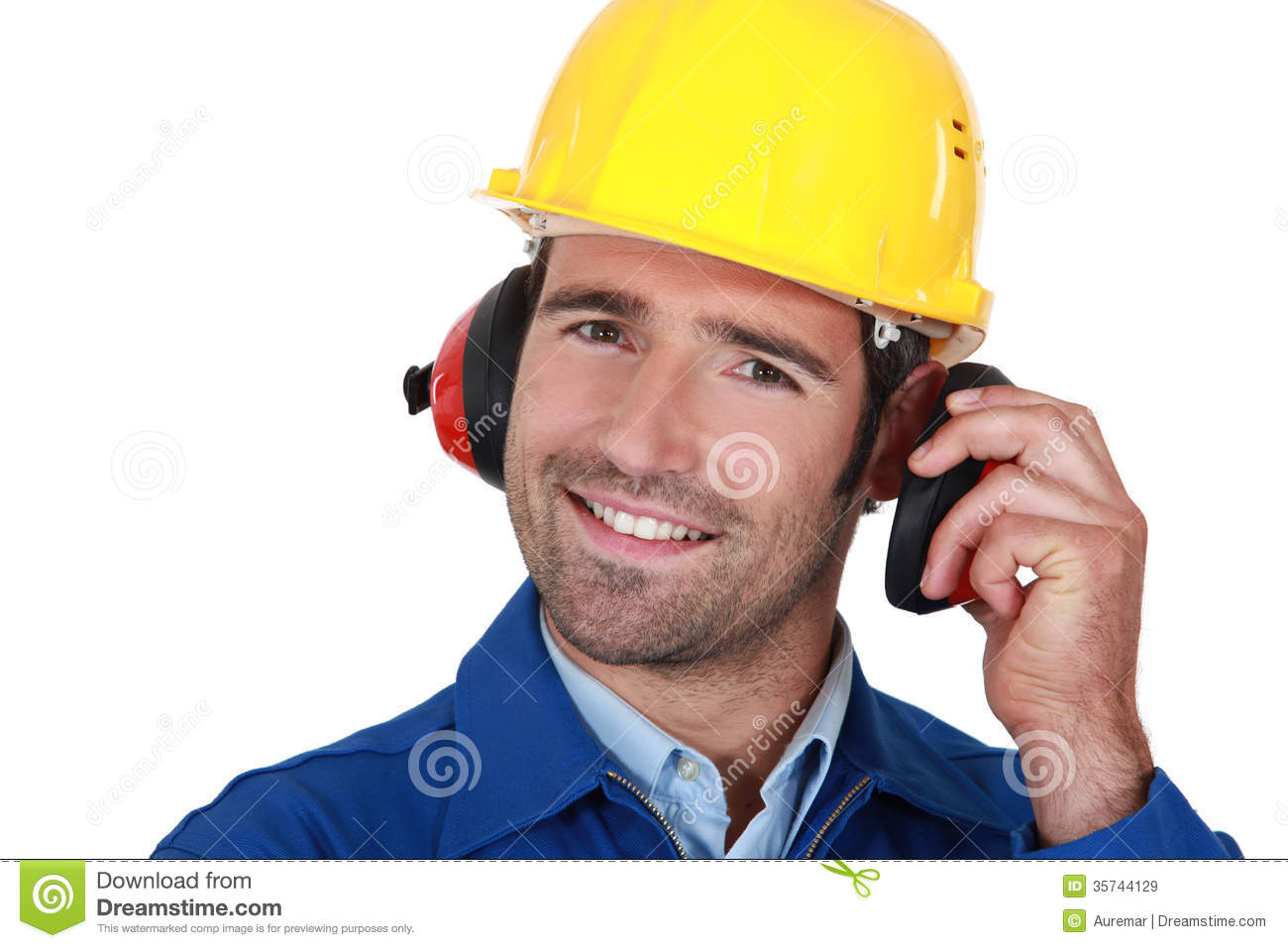Builder wearing ear protection royalty free stock images for Www builder