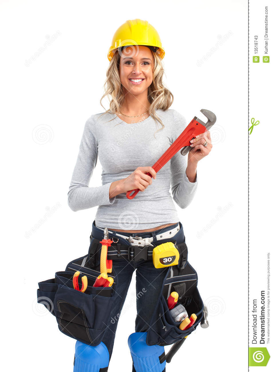 Builder Woman Stock Image Image Of House Ladder Helmet