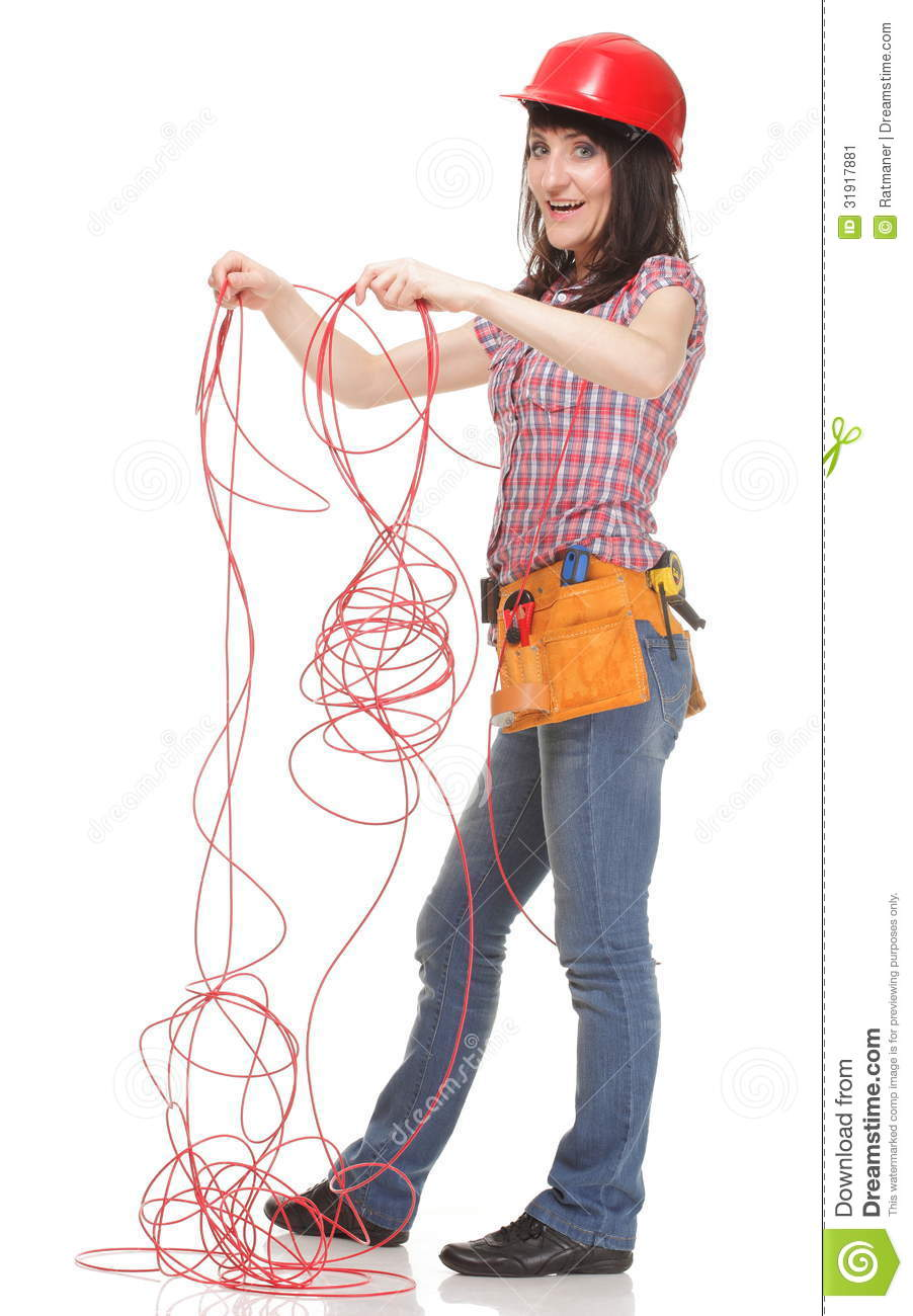 Builder woman with entangled red cable stock image image for 3d setup builder