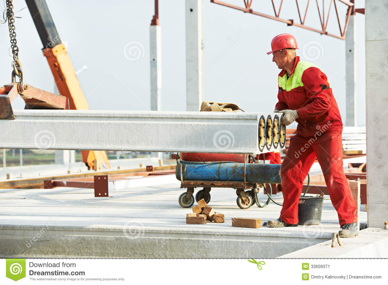 Builder worker installing concrete slab stock image for Builder floor