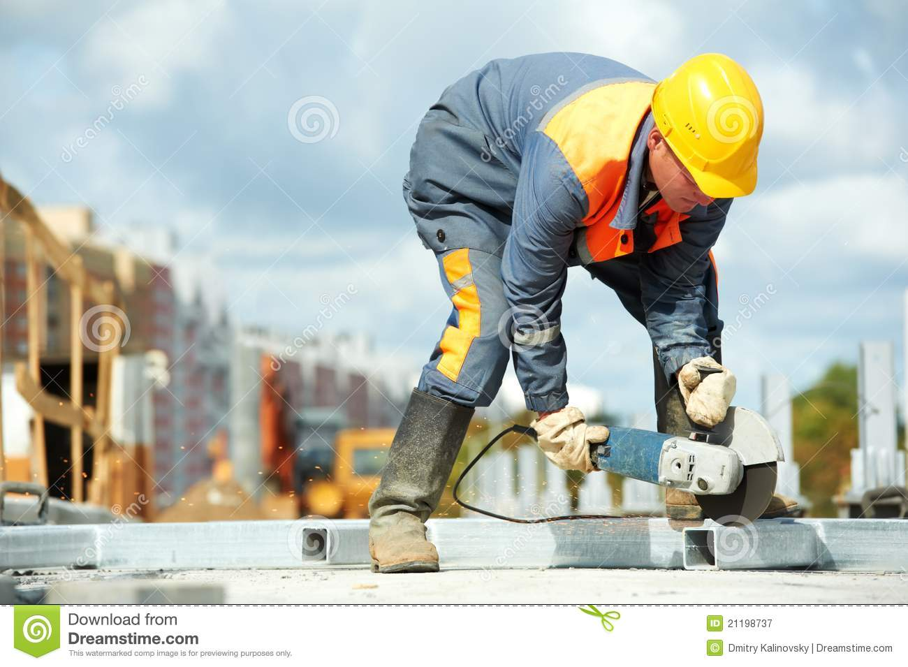 Builder Working With Cutting Grinder Stock Image Image