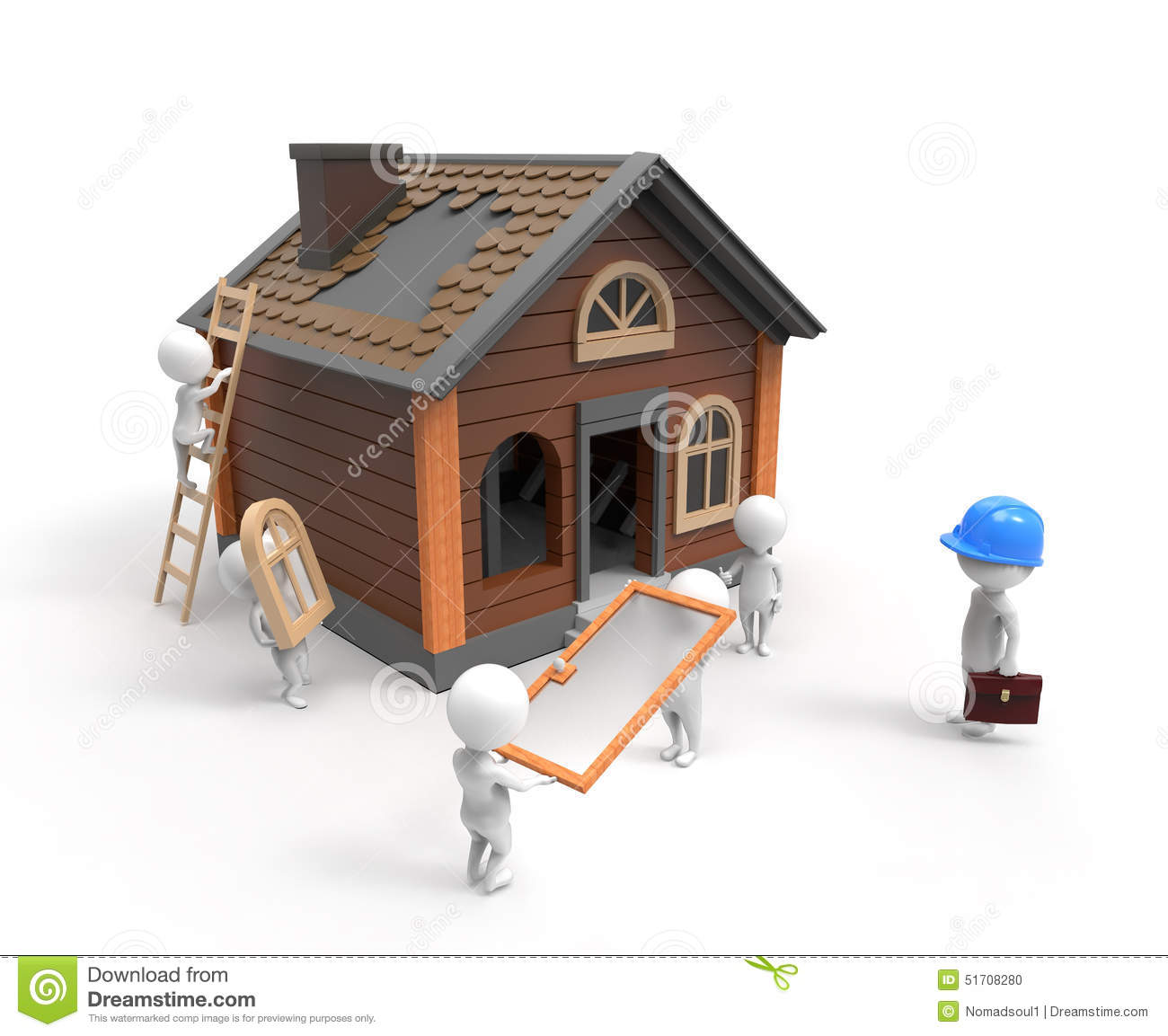Builders construct the house stock illustration image 51708280 Build a house online