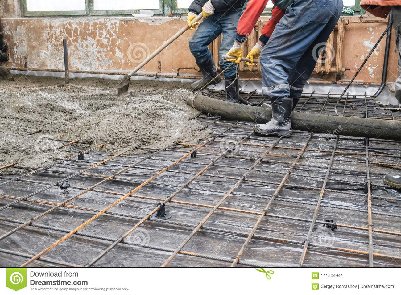 Pouring Concrete Slab Stock Image Image Of Mortar Mixing