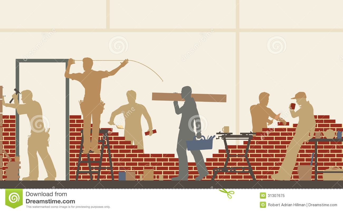 Builders at work stock vector image of building site for House builder online free