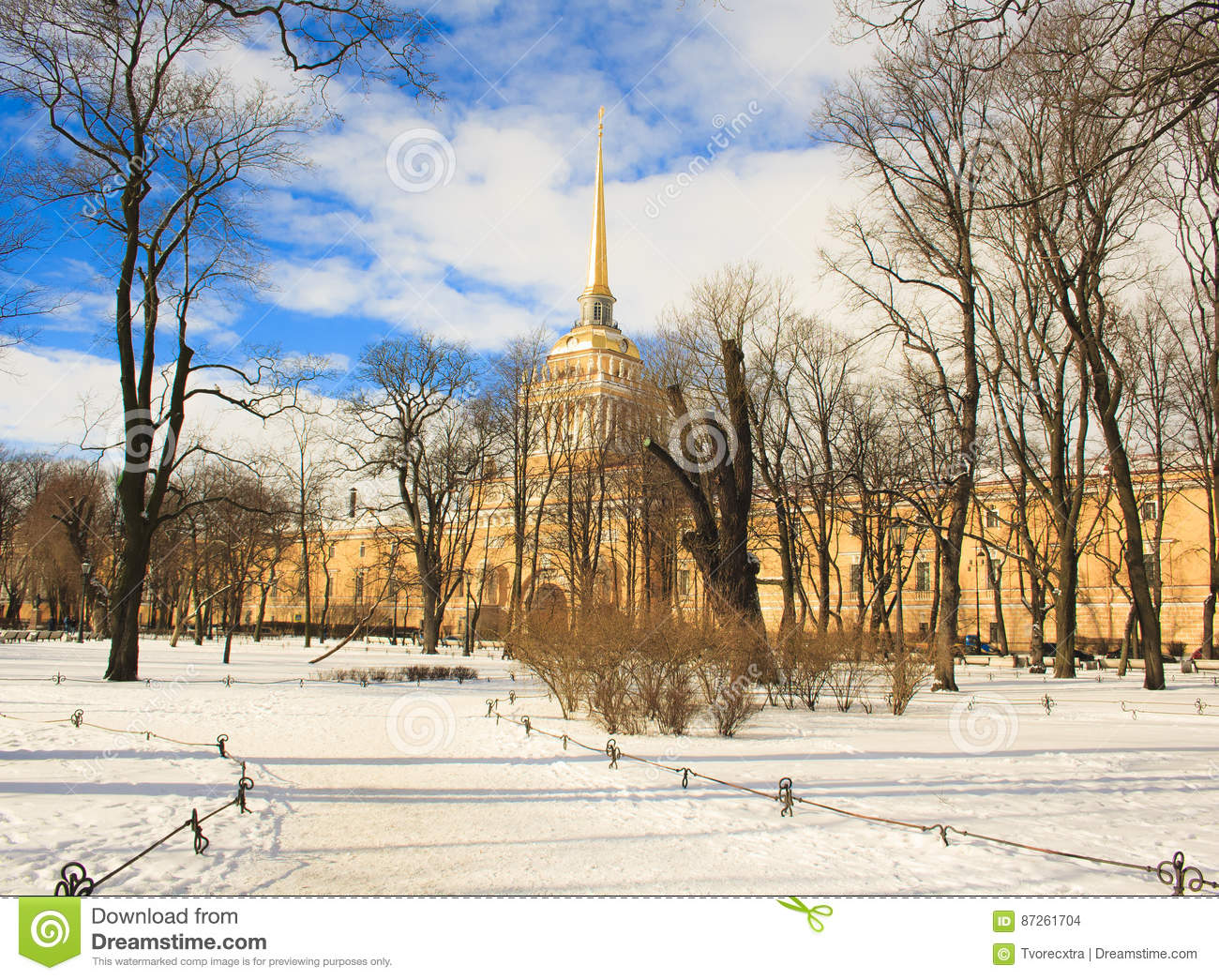 the building of the admiralty and a winter garden st petersburg