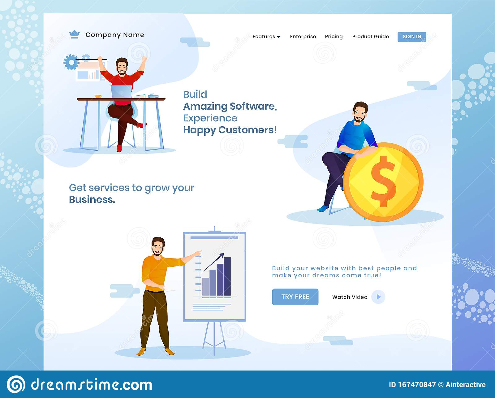 Building Amazing Software With Business Growth And Success Concept Based Web Banner Design Stock Illustration Illustration Of Advertising Grow 167470847