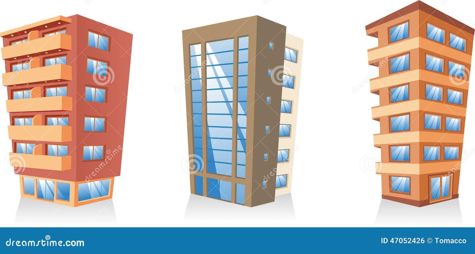 Building Apartment Houses Set Stock Illustration Image
