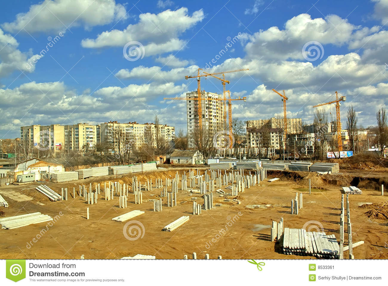 Building area foundation and cranes hdri stock image Builders in my area