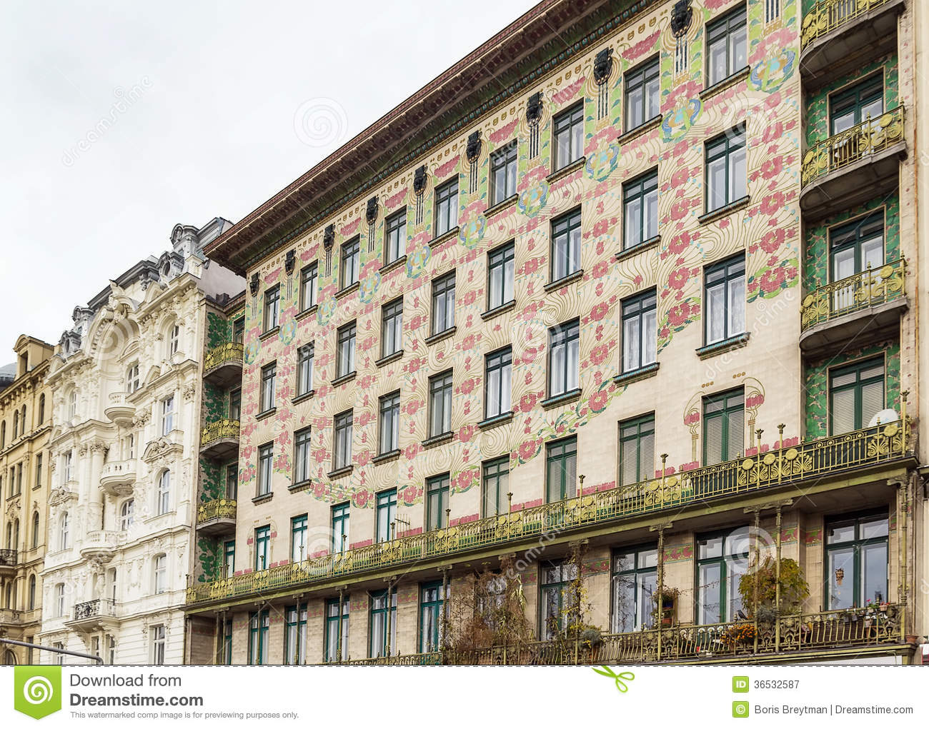 Building in Art Nouveau style constructed by the architect Otto Wagner,  Vienna
