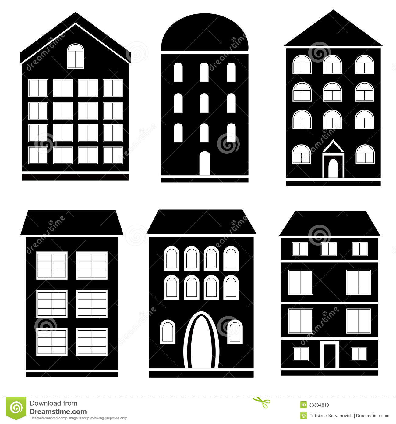 Building Black And White Set Stock Vector - Image: 33334819