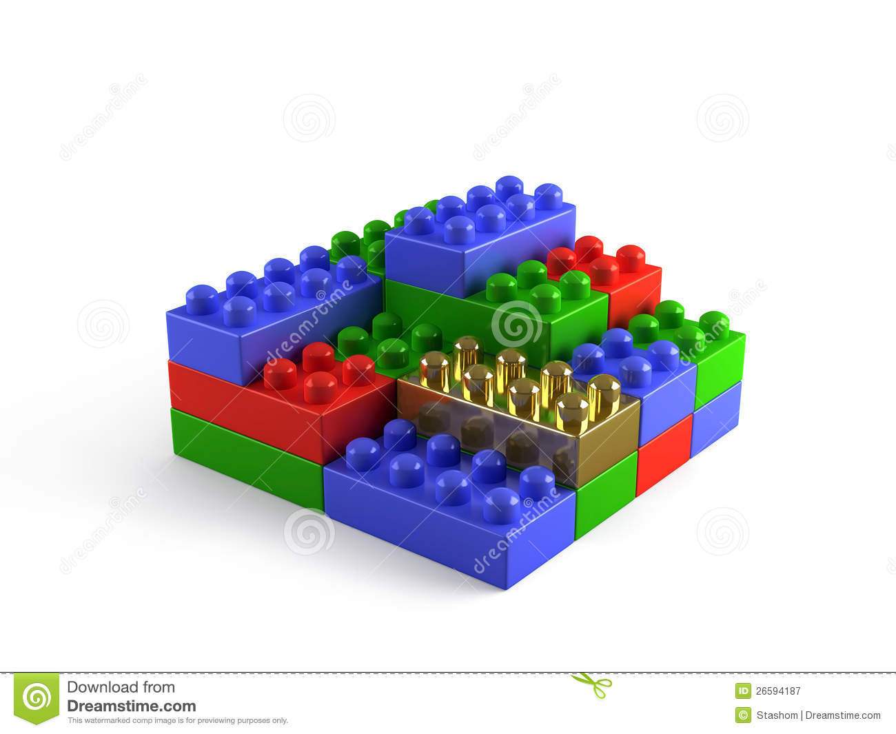Building blocks concept with one gold block royalty free