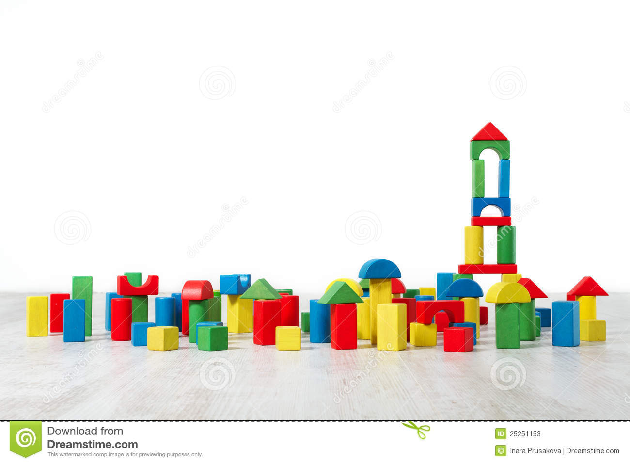 Building blocks toy over floor in white interior
