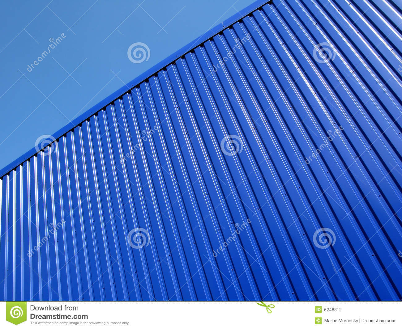 Building Of Blue Metal Siding Stock Photo Image Of