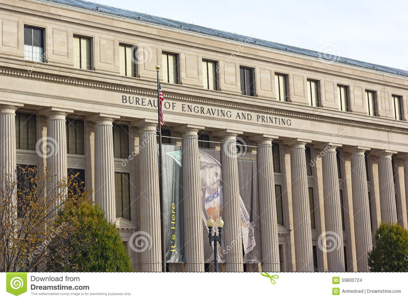 The building of bureau of engraving and printing in washington dc