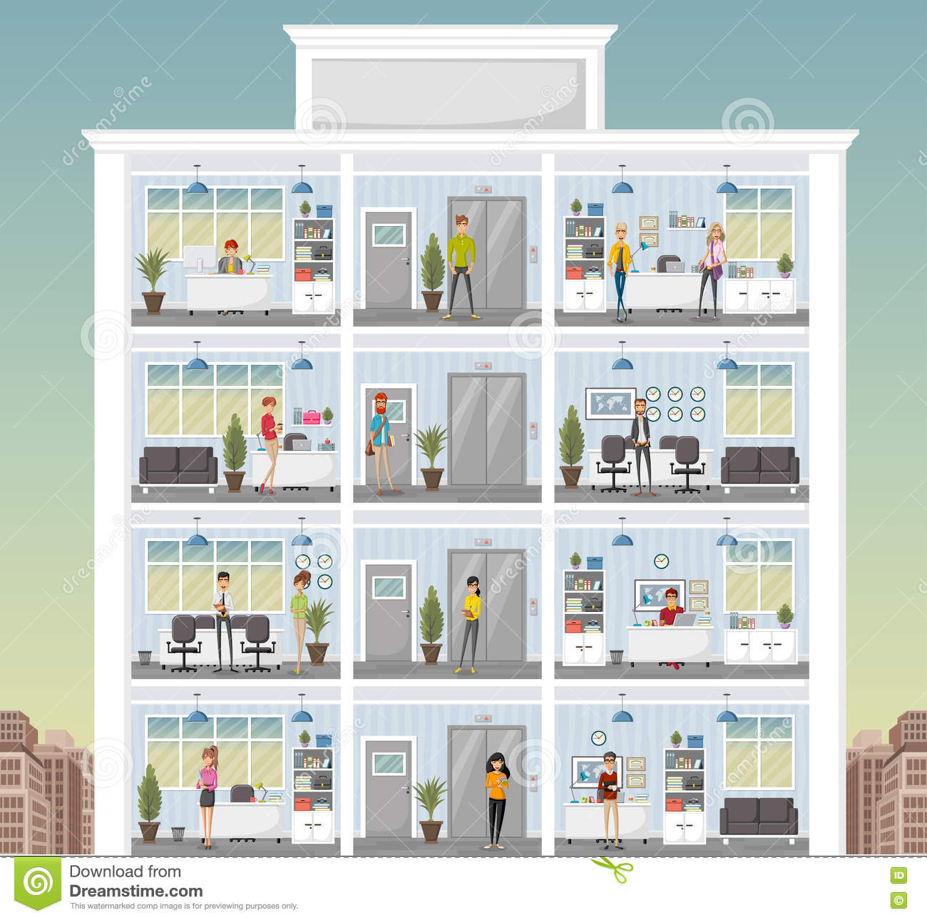 Building With Cartoon Business People Working In Office Workspace